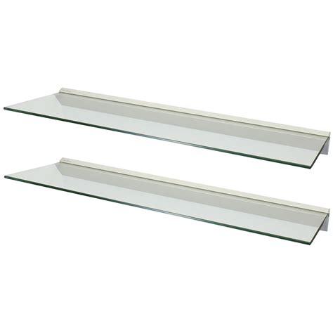 glass shelf hartleys pair 2x 100cm clear floating glass wall shelves