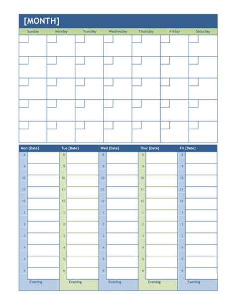 monthly calendar  time slots template