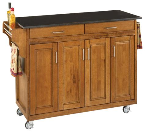 kitchen islands and trolleys home styles create a cart 49 inch black granite top kitchen cart in cottage oak transitional