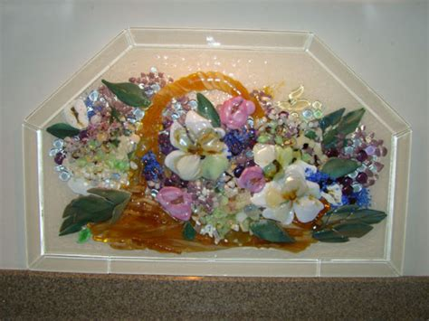 fused glass kitchen backsplash basket  flowers designer glass mosaics