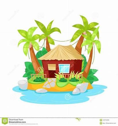 Island Palm Tropical Hut Trees Bungalow Cartoon
