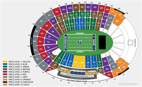 los angeles memorial coliseum los angeles  schedule seating chart directions