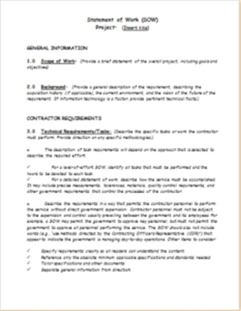 Statement Of Works Template by 3 Professional Statement Of Work Templates Doc Templateinn