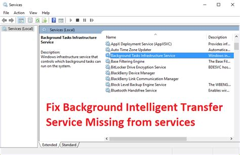 Bits Background Intelligent Transfer Service Fix Background Intelligent Transfer Service Missing From