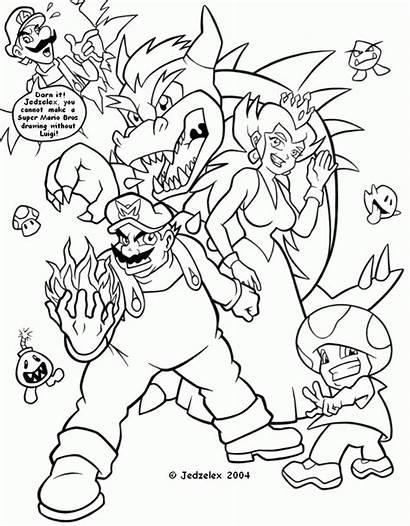 Mario Bros Drawings Coloring Super Drawing Character