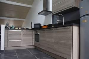 incroyable cuisine grise plan de travail noir 1 With cuisine grise plan de travail noir