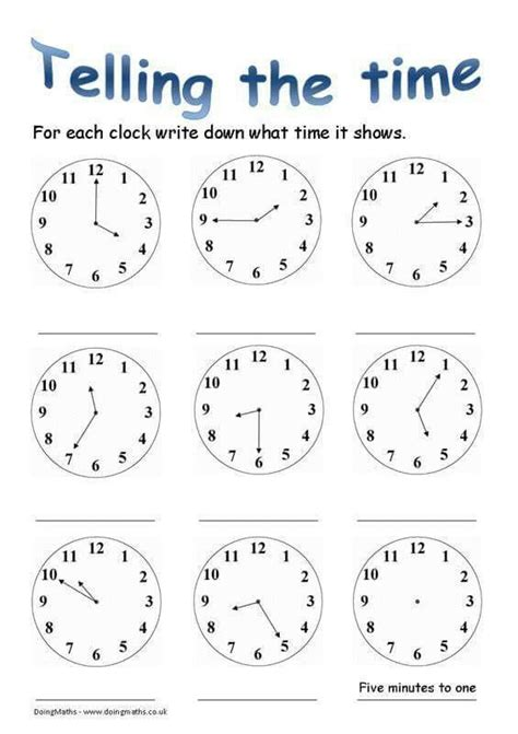 teling  time  images time worksheets kids math