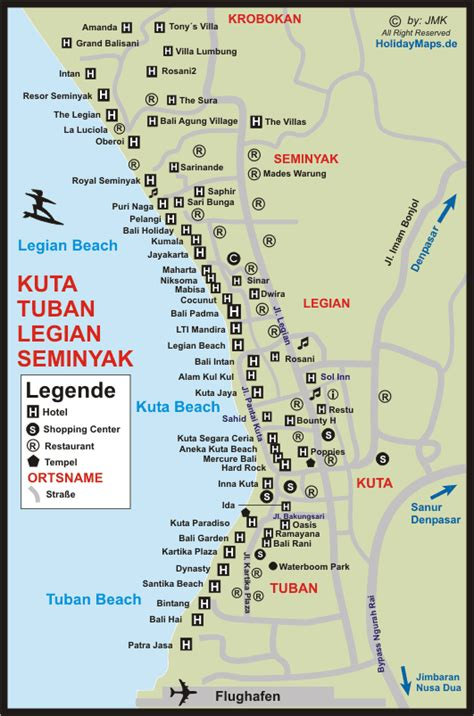 kuta beach accommodation hotels map places id