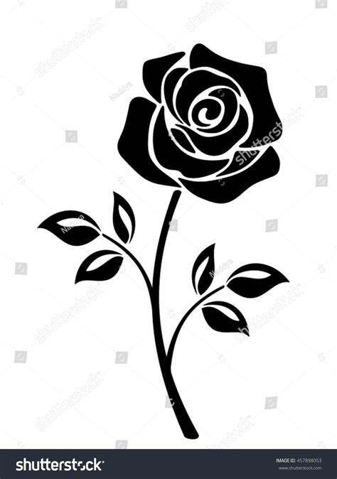 vector black silhouette rose flower stem stock vector