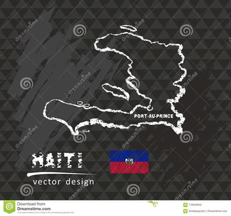 haiti map vector  drawing  black background stock