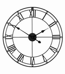 Horloge En Metal : grande horloge murale ronde en m tal noir chiffres romains ~ Teatrodelosmanantiales.com Idées de Décoration