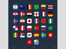 World of Football Russia Cup 2018 Flag Icons by
