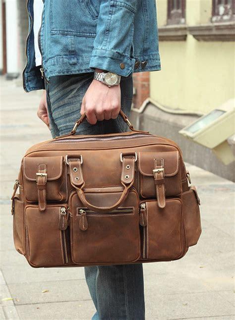 large handmade vintage leather travel bag leather messenger bag overnight bag duffle bag