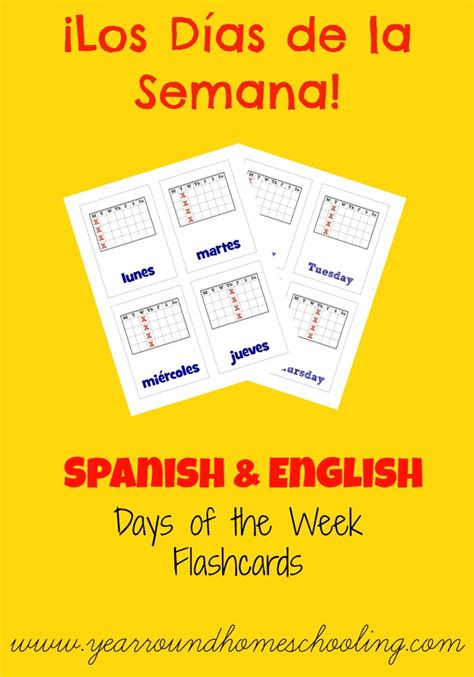8 Best Images Of Printable Flashcards Days Of The Week  Spanish Days Of The Week Flash Cards