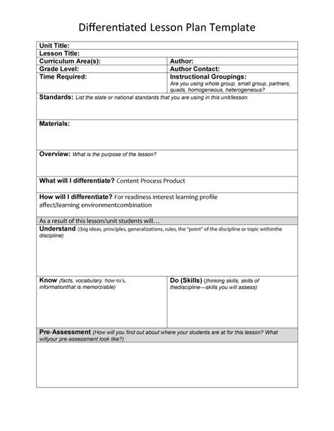plan template 44 free lesson plan templates common preschool weekly