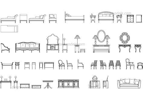 classic furniture set dwg free cad blocks