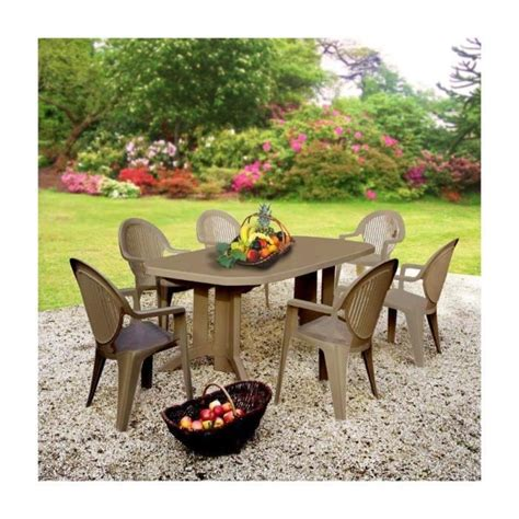 salon de jardin taupe 1 table 2m20 6 faut achat