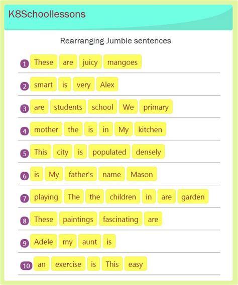 jumbled sentences exercises 13 in 2018 worksheets