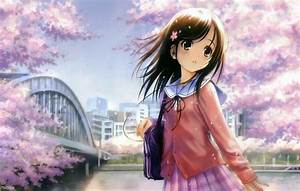 Anime girl brown hair brown eyes wallpaper | 1600x1019 ...