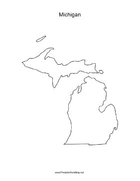 A blank map of the state of Michigan, oriented vertically and ideal for classroom or business