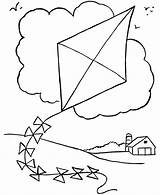 Coloring Spring Pages Kite sketch template