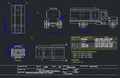 tank truck fuel  water  autocad cad  kb
