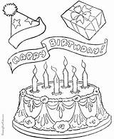 Coloring Birthday Cake Cakes Printable sketch template