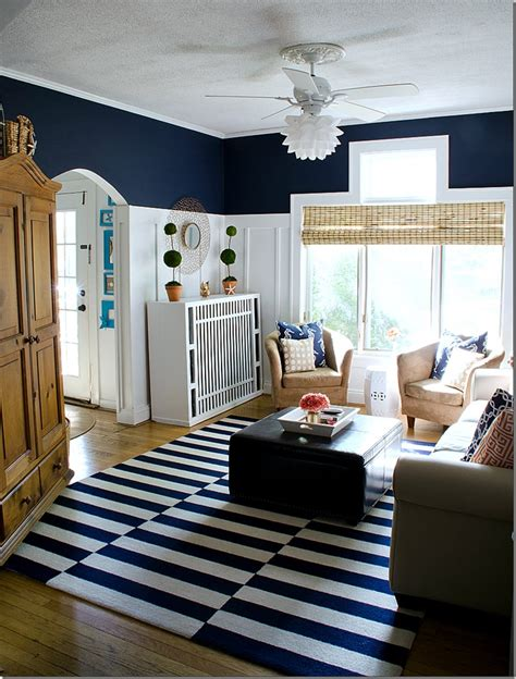 Navy Living Room by Navy And White Board Batten Living Room Design