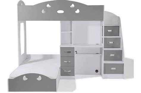 combine lit bureau junior lit combiné 2 couchages bureau blanc gris laila design