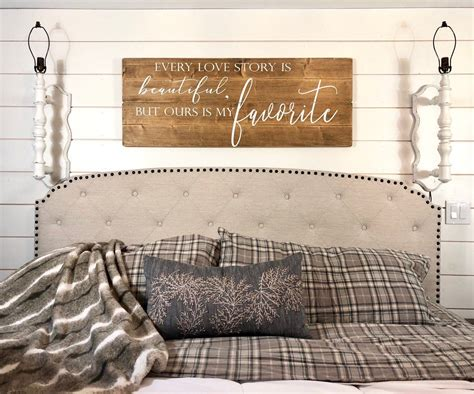 Check out our latest finds to get a better idea of what rustic wall decor is all about. Bedroom wall decor | every love story is beautiful but our is my favorite | big bedroom sign ...