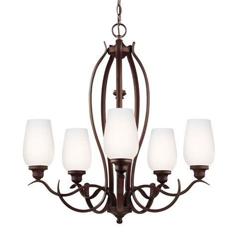 single chandelier feiss standish 5 light rubbed bronze with highlights