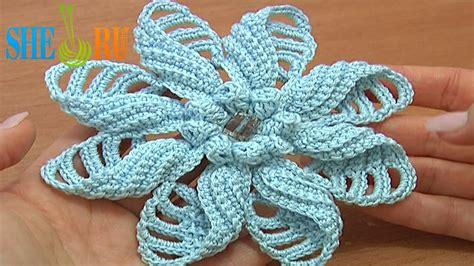 sheruknitting crochet folded petal flower tutorial