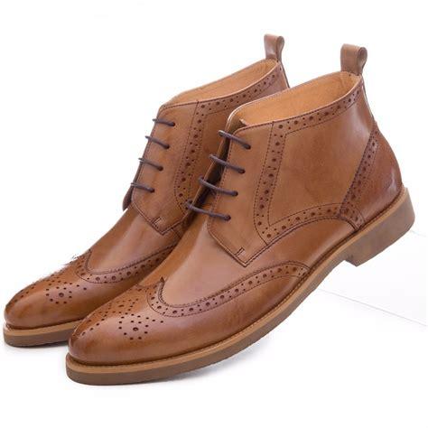 Fashion Black Brown Oxfords Shoes Mens Boots Genuine