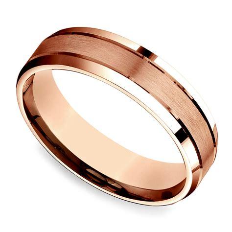 satin beveled men s wedding ring in rose gold