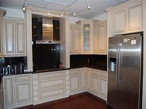 Kitchens with white appliances and dark cabinets, small ...