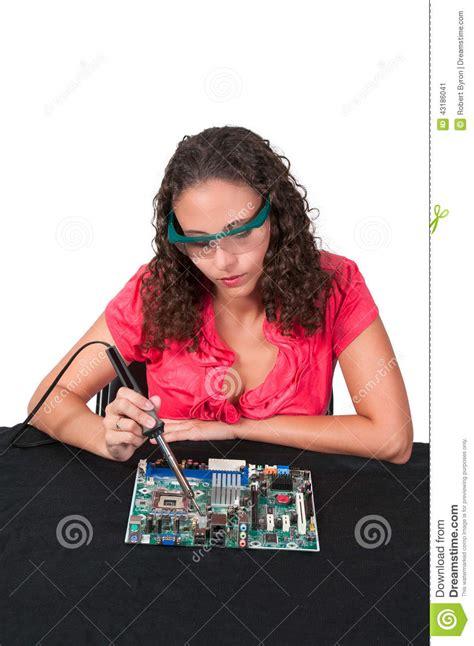 Woman Soldering Stock Photo Image