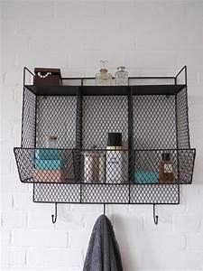 Bathroom metal wire wall rack shelving display shelf for Metal bathroom shelving unit