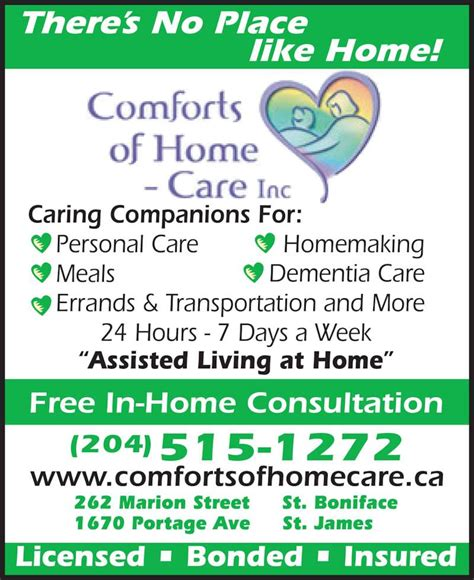 home comforts inc comforts of home care inc winnipeg mb 262 marion st