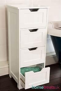bathroom cabinet storage White Freestanding Bathroom Cabinet.Tall 4 Drawer Storage - Home Treats UK
