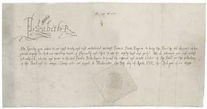 Queen Elizabeth I letter establishing the Order of the ...