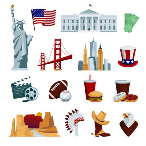 Download for free blank svg vector map of usa. Free Vector | Usa flat icons set with american national ...