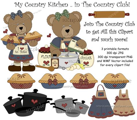 country kitchen clipart clipart for digital printables and crafts the country club 2758