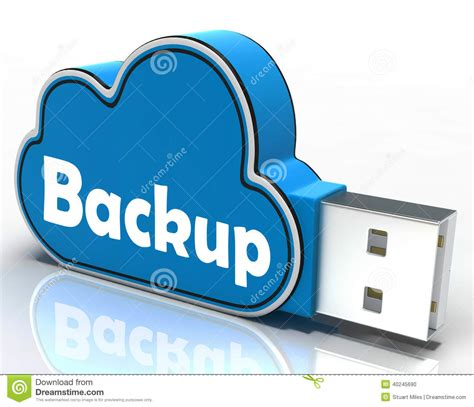 Backup Cloud Pen Drive Means Data Storage Or Stock