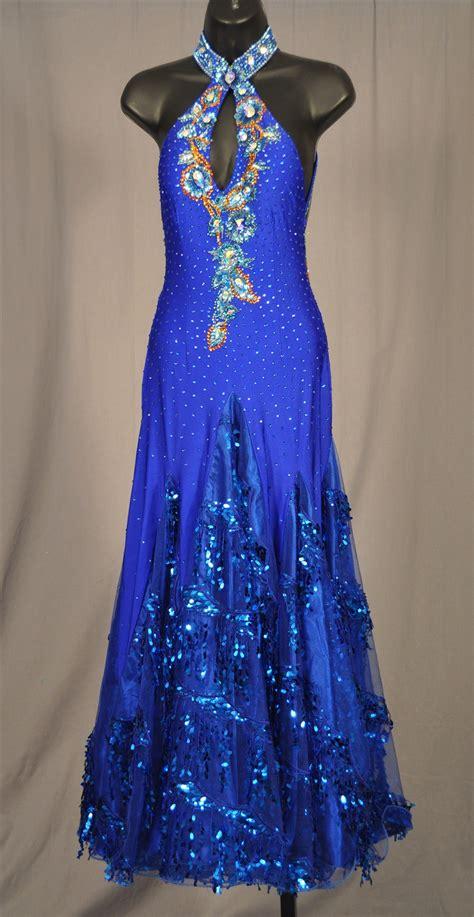 elegant royal blue ballroom dress  sequin fringe skirt