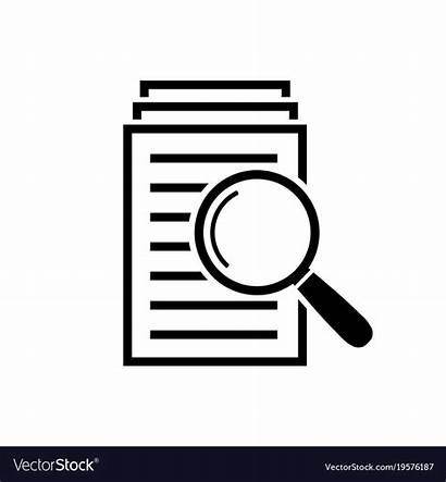 Magnifying Icon Glass Documents Sign Vector