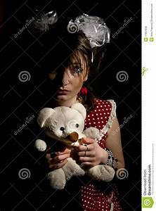 Young Sad Girl With Teddy Bear Royalty Free Stock Images ...