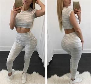 Get Sporty Grey Crop Top and Leggings Set