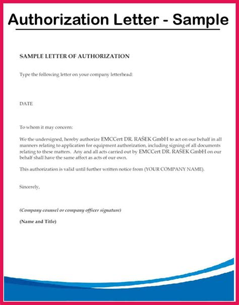 authorization letter sample sop examples