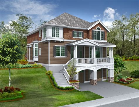 front sloping lot craftsman style house plans craftsman house plans garage house plans