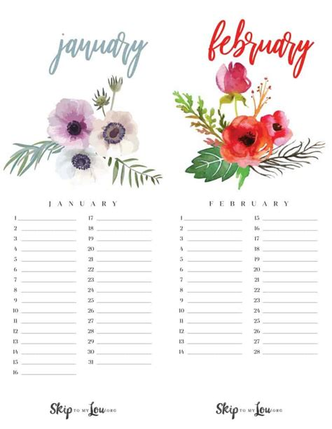 printable calendar updated skip   lou